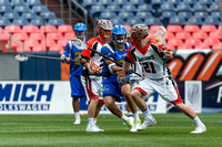 The MMLL Major League Lacrosse game between the Denver Outlaws and the Charlotte Hounds at Sports Authority Field at Mile High in Denver, Colorado on May 7, 2017.Final score of the game was the Colora