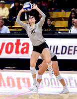 The PAC12 Women's Volleyball match between the University of Colorado Buffaloes (CU) and the University of California Los Angeles Bruins (UC) at the Coors Event Center on the University of Colorado ca