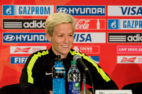 The US Women's Soccer Team's press briefing with Megan Rapinoe and Coach Jill Ellis the day before their game against Colombia during the round of 16 at the FIFA Women's World Cup Canada 2015