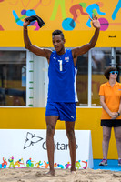 USA vs Cuba in Men's Beach Volleyball during the Preliminary Round Match 10 game at the 2015 Pan Am Games.