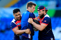USA Men's Eagles prop Titi Lamositele, wing Brett Thompson, and back row Danny Barrett
