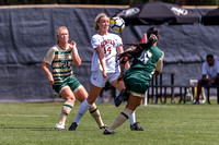 The NCAA Colorado Cup Women's Soccer Tournament game between the Colorado State University Rams (CSU) and the University of Denver Pioneers (DU) at Prentup Field in Boulder, Colorado on August 20, 201