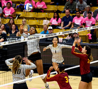 The PAC12 Women's Volleyball match between the University of Colorado Buffaloes (CU) and the University of Southern California Trojans (SC) at the Coors Event Center on the University of Colorado camp