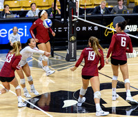 The PAC12 Women's Volleyball match between the University of Colorado Buffaloes (CU) and the Washington State University Cougars (WS) at the Coors Event Center on the University of Colorado campus in