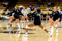 The PAC12 Women's Volleyball match between the University of Colorado Buffaloes (CU) and the University of Washington Huskies (WA) at the Coors Event Center on the University of Colorado campus in Bou