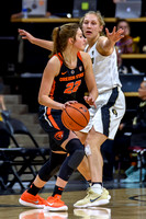 The NCAA PAC12 Women's Basketball game between the University of Colorado Buffaloes (CU) and the Oregon State University Beavers (OS) at the Coors Event Center on the University of Colorado campus in