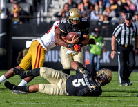 The PAC-12 Football game between the University of Colorado Buffaloes (CU) and the University of Southern California Trojans (SC) at Folsom Field on the University of Colorado campus in Boulder, Color