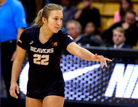 The PAC12 Women's Volleyball match between the University of Colorado Buffaloes (CU) and the Oregon State Beavers (OS) at the Coors Event Center on the University of Colorado campus in Boulder, Colora