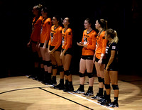 The NCAA PAC12 Women's Volleyball match between the University of Colorado Buffaloes (CU) and the Oregon State Beavers (OS) at the Coors Event Center on the University of Colorado campus in Boulder, C