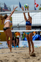 Canada vs Puerto Rico in Beach Volleyball during the Preliminary Round Match 9 game at the 2015 Pan Am Games.